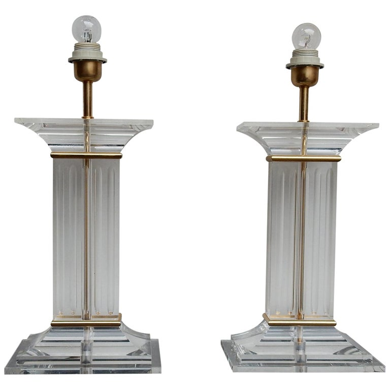 1970 Pair of Lamps in Lucite Columns Deco For Sale