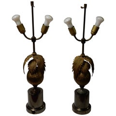 1970 Pair of Lamps Palm or Coconut Tree with Coconut Style Jansen or Charles