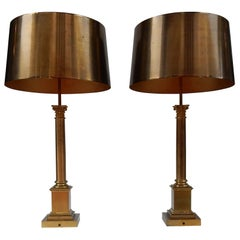 1970 Pair of Lamps with Corinthian Columns in Brass and Bronze Signed Charles