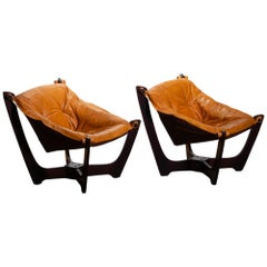 1970 Pair of Leather Lounge Chairs by Odd Knutsen for Hjellegjerde Møbler Norway
