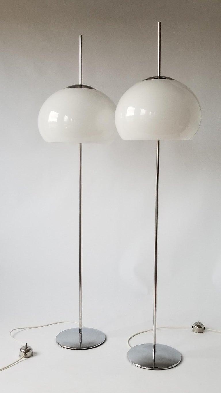 Italian 1970 Pair of Reggiani Acrylic Shade on Chrome Floor Lamp, Italy For Sale