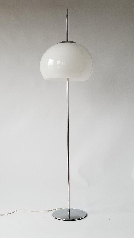 1970 Pair of Reggiani Acrylic Shade on Chrome Floor Lamp, Italy For Sale 1