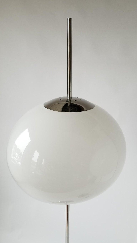 1970 Pair of Reggiani Acrylic Shade on Chrome Floor Lamp, Italy For Sale 2
