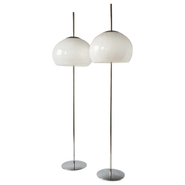 1970 Pair of Reggiani Acrylic Shade on Chrome Floor Lamp, Italy For Sale