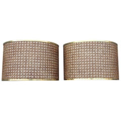 1970 Pair of Sconces Vienna Straw Bamboo Brown Gold Italian Curved Rectangular