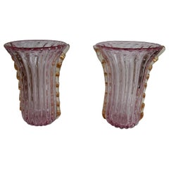 1970 Pair of Vases Or Similar Murano Crystal Pink and Gold Signed Toso