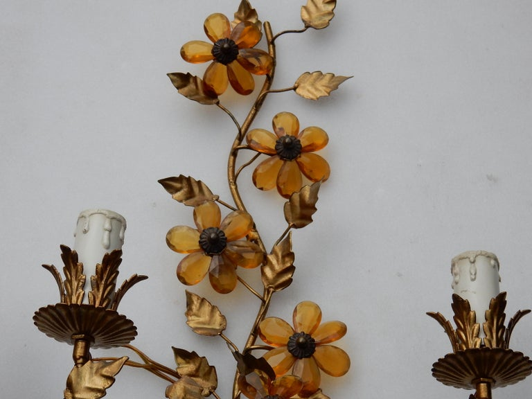Gilt 1970 Pair of Wall Lamp in the Style of Maison Baguès with Orange Color Flowers For Sale