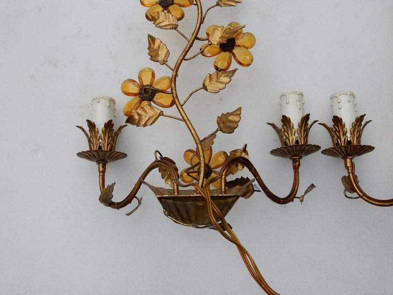 Late 20th Century 1970 Pair of Wall Lamp in the Style of Maison Baguès with Orange Color Flowers For Sale
