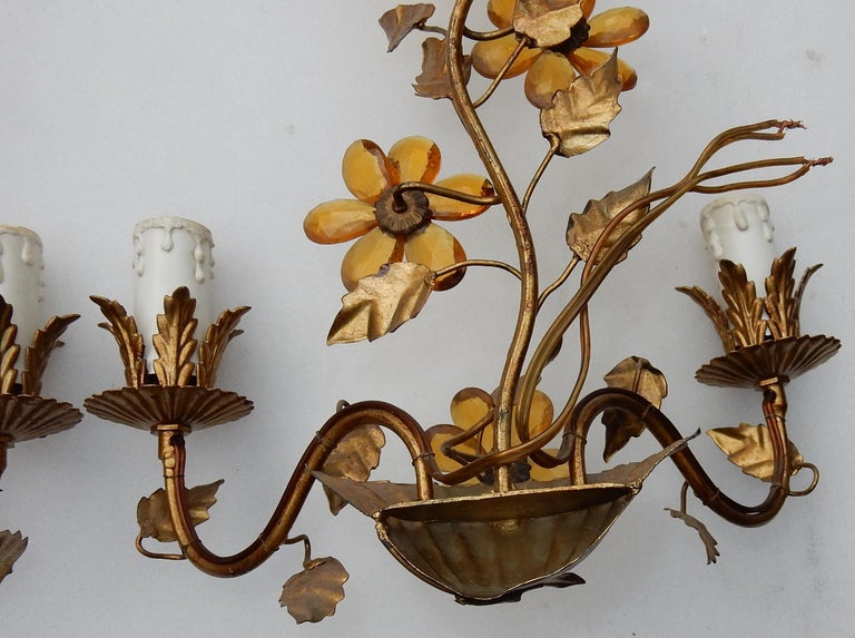 Iron 1970 Pair of Wall Lamp in the Style of Maison Baguès with Orange Color Flowers For Sale