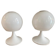 1970 Pair of White Opaline Glass and Lacquered Metal Ball Table Lamps
