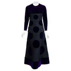 1970 Pierre Balmain Haute Couture Purple Velvet Graphic Gown & Full-Length Cape