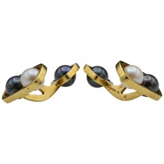 1970 Pierre Cardin Gold Pearl Cufflinks Design by Dinh Van