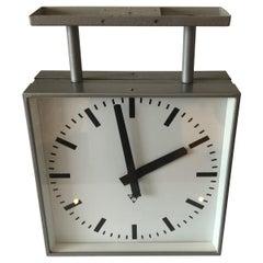 1970 Pragotron Square Bilateral Clock, Czechoslovakia