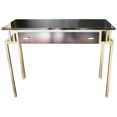 1970 Rectangular Writing Desk / Console in Laminate and Brass Finishes