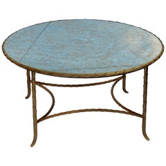 1970 Round Coffee Table Style of Maison Charles, Top in Glass
