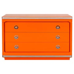 1970´s Chest of Drawers, Orange Lacquered Solid Wood, Barcelona