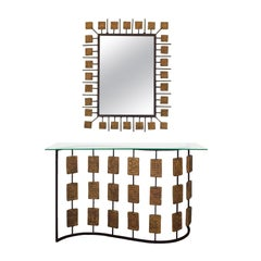 "1970s Console and Mirror by Mario Giani ""Clizia"", Steel, Terracotta, Italy"