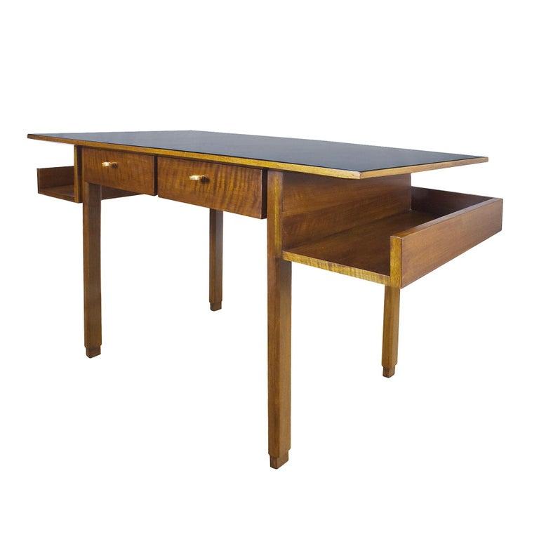 1970s rationalist desk by pietro bossi waxed walnut