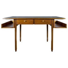 1970s Rationalist Desk by Pietro Bossi, Waxed Walnut, Brass, Formica, Italy
