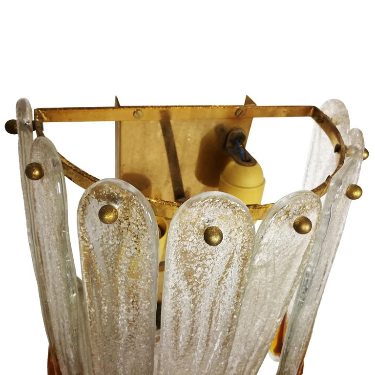 Italian 1970s Set of Four Murano Crystal Wall Lights by Mazzega, Brass, Italy, Murano For Sale