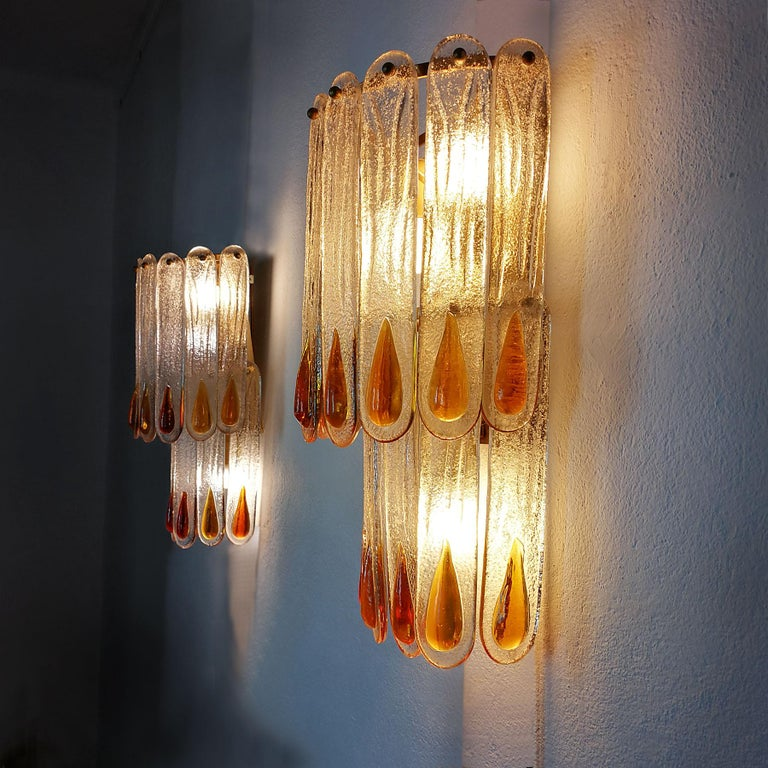 1970s Set of Four Murano Crystal Wall Lights by Mazzega, Brass, Italy, Murano For Sale 1