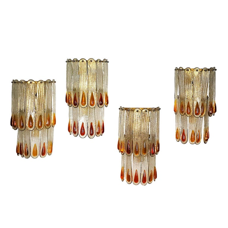 1970s Set of Four Murano Crystal Wall Lights by Mazzega, Brass, Italy, Murano For Sale