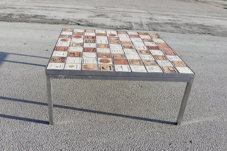 Mid-Century Modern 1970s Sofa Table in Steel and Ceramics For Sale