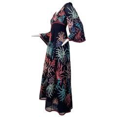 1970 Saz Deep Navy Silk Boho Midi Dress W/ Colorful Embroidery & Beadwork