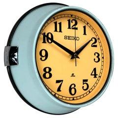 1970 Seiko Blue and Tobacco Retro Vintage Industrial Antique Steel Quartz Clock