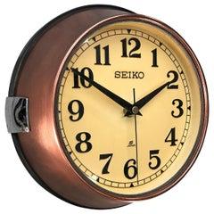 1970 Seiko Copper and Cream Retro Vintage Industrial Antique Steel Quartz Clock