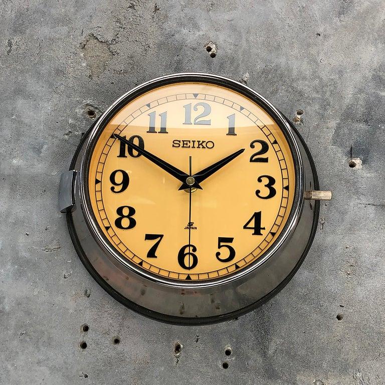 1970 Seiko Steel Retro Vintage Industrial Antique Steel Quartz Clock For Sale 4