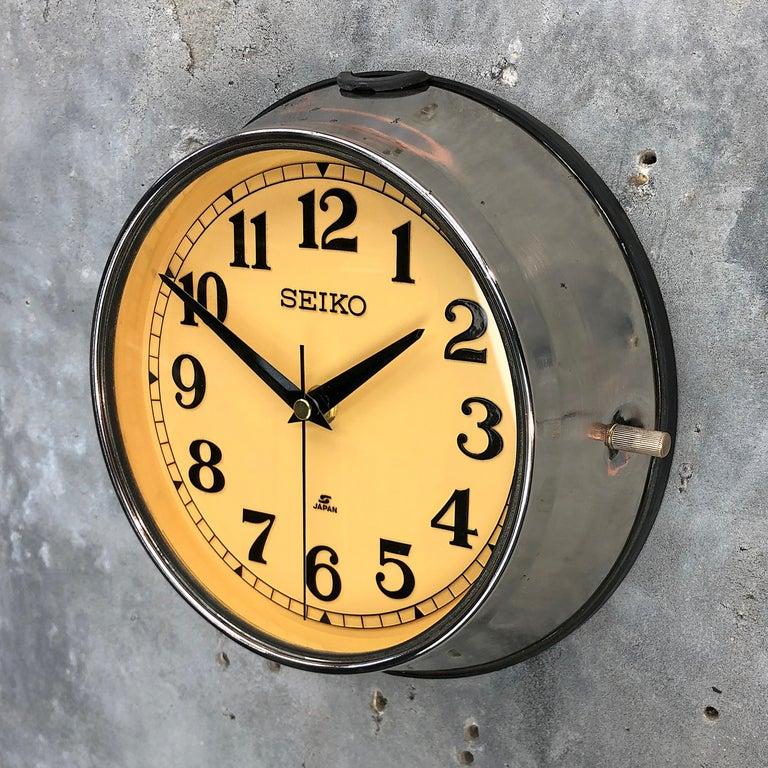 1970 Seiko Steel Retro Vintage Industrial Antique Steel Quartz Clock For Sale 7