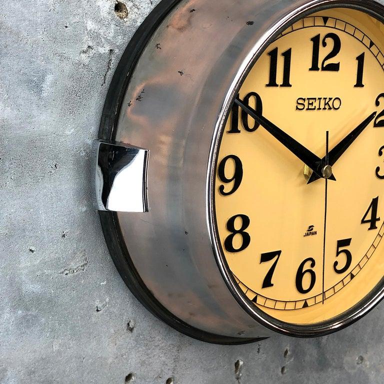 1970 Seiko Steel Retro Vintage Industrial Antique Steel Quartz Clock For Sale 9