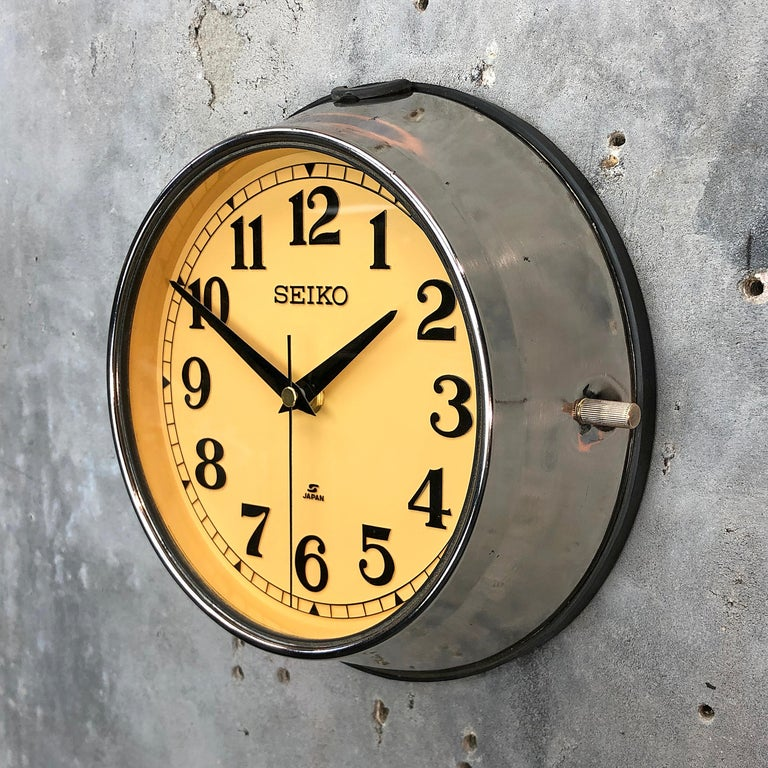 Seiko super tanker slave clock stripped and polished.  A reclaimed and restored maritime slave clock.  These clocks were used in great numbers on super tankers, cargo ships and military vessels built during the 1970s and housed a movement that would