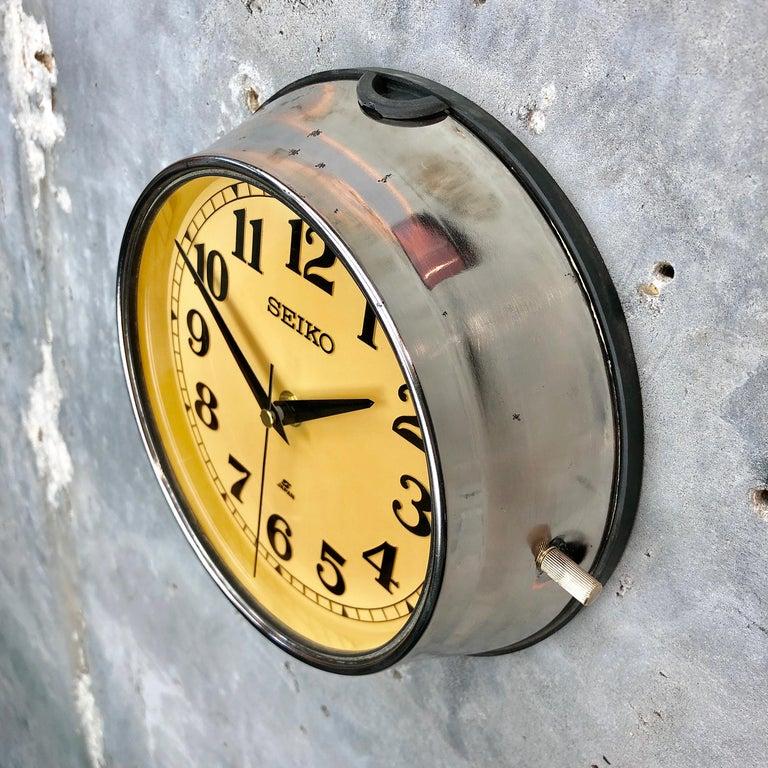 Japanese 1970 Seiko Steel Retro Vintage Industrial Antique Steel Quartz Clock For Sale