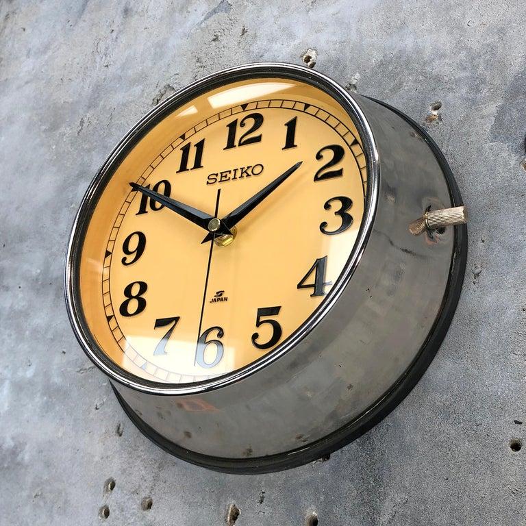 Cast 1970 Seiko Steel Retro Vintage Industrial Antique Steel Quartz Clock For Sale