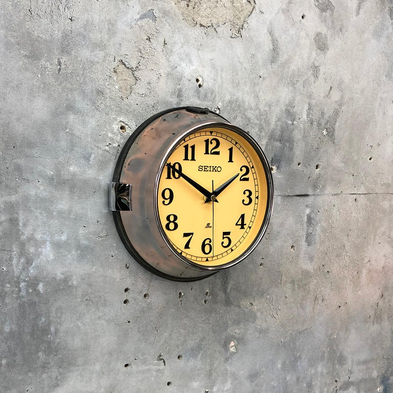 1970 Seiko Steel Retro Vintage Industrial Antique Steel Quartz Clock In Excellent Condition For Sale In Leicester, Leicestershire