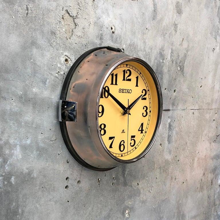 Late 20th Century 1970 Seiko Steel Retro Vintage Industrial Antique Steel Quartz Clock For Sale