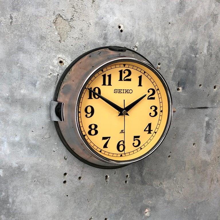 1970 Seiko Steel Retro Vintage Industrial Antique Steel Quartz Clock For Sale 1