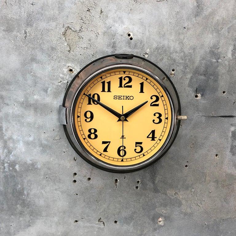 1970 Seiko Steel Retro Vintage Industrial Antique Steel Quartz Clock For Sale 2
