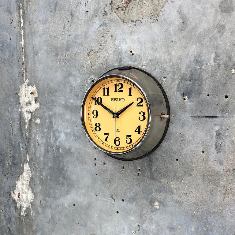 1970 Seiko Steel Retro Vintage Industrial Antique Steel Quartz Clock For Sale 3