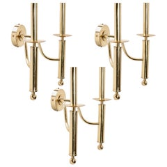 1970 Set of 3 Maison Roche Wall Lights in Gilded Brass
