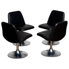 "1970 Set of Four Black ""Vinga"" Swivel Chairs by Börje Johanson Markaryd Sweden F"
