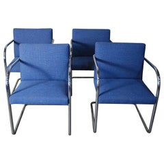 1970 Set of Four Cantilever Chrome Brno Chairs by Thonet