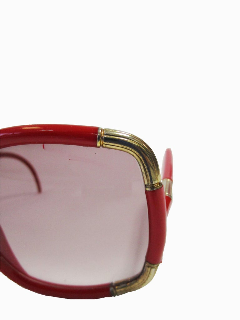 Gray 1970 Ted Lapidus Paris Red and Gold Sunglasses  For Sale