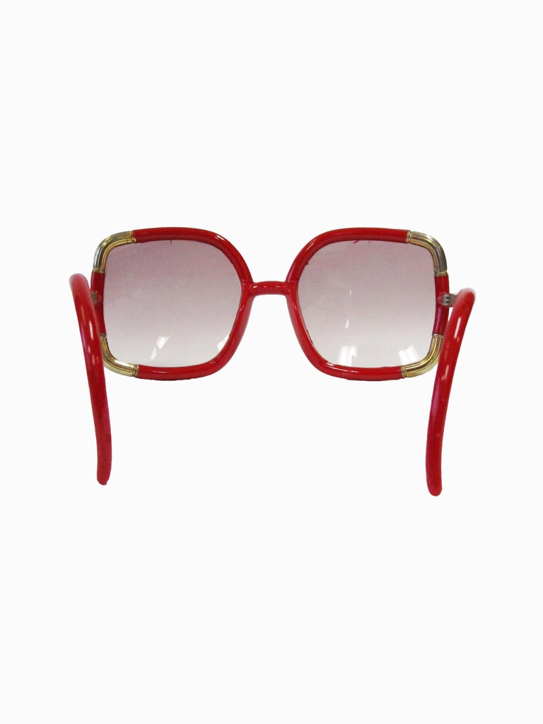 1970 Ted Lapidus Paris Red and Gold Sunglasses  In Good Condition For Sale In Houston, TX