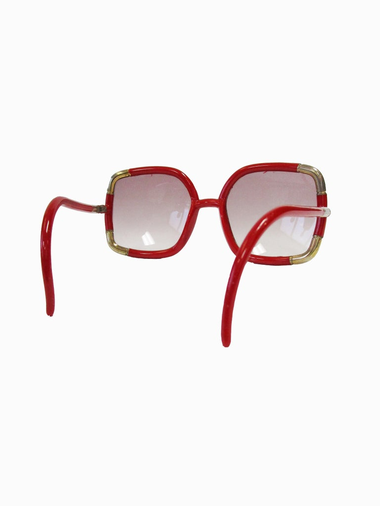 Women's 1970 Ted Lapidus Paris Red and Gold Sunglasses  For Sale