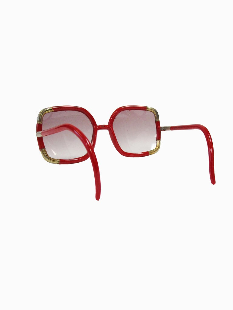 1970 Ted Lapidus Paris Red and Gold Sunglasses  For Sale 1