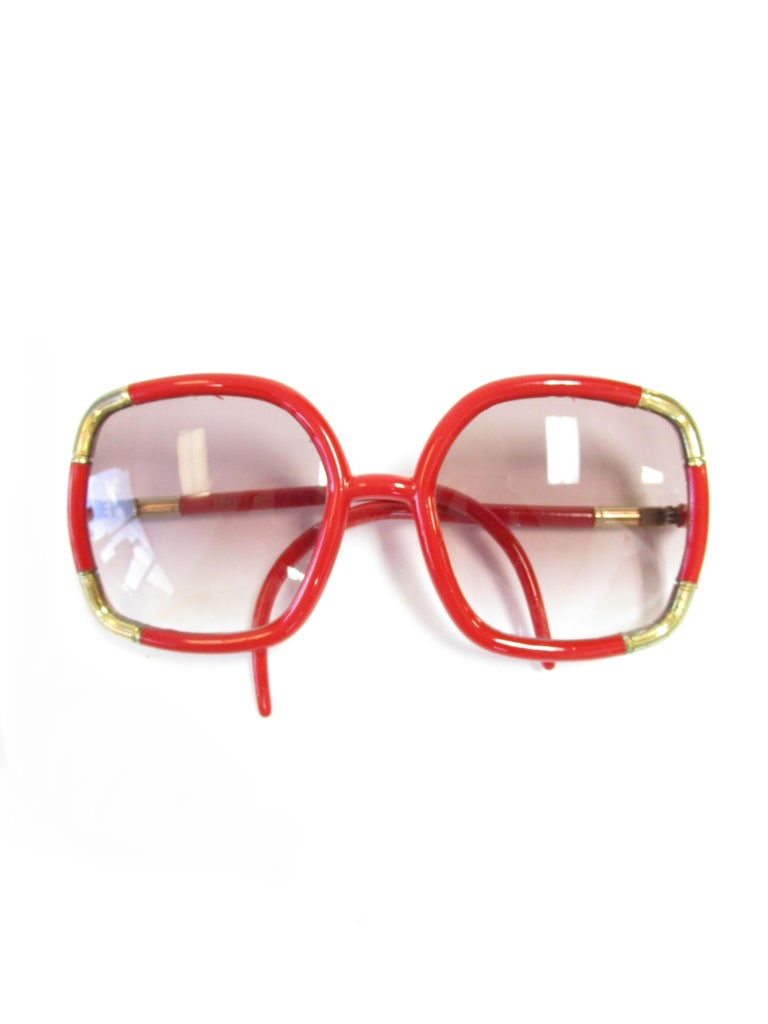 1970 Ted Lapidus Paris Red and Gold Sunglasses  For Sale 3