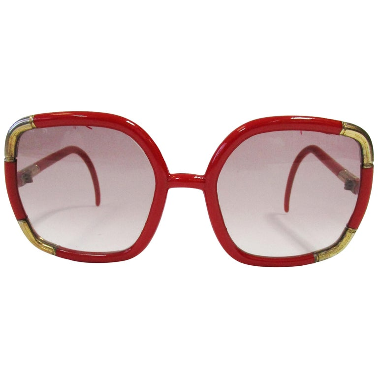 1970 Ted Lapidus Paris Red and Gold Sunglasses  For Sale